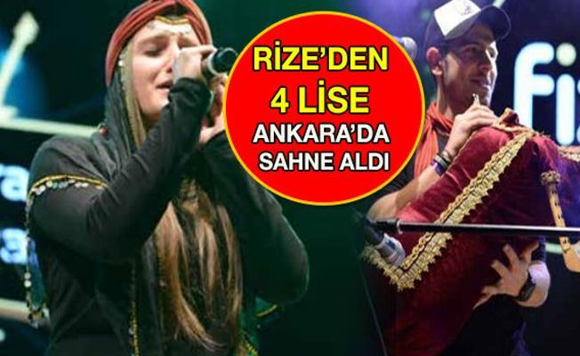 Rize'den 4 Lise Ankara'da Sahne Aldı