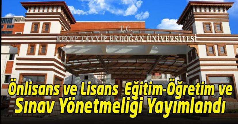 RTEÜ Önlisans ve Lisans Eğitim-Öğretim ve Sınav Yönetmeliği Yayımlandı